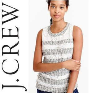 J.CREW Fringey top in tweed and lace